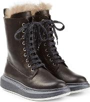 Leather Ankle Boots With Fur Lining