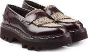 Leather Loafers With Embellishment