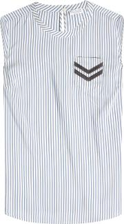 Striped Silk Blouse With Embellishment