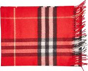 Checked Cashmere Scarf With Fringe
