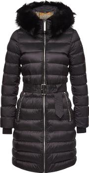 Lime House Quilted Down Coat With Shearling
