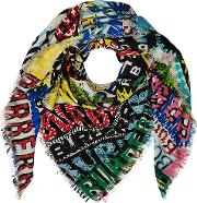 Printed Wool Scarf With Silk