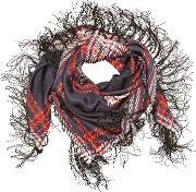 Chastin Printed Silk Scarf With Fringe