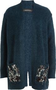 Embellished Cardigan With Wool And Kid Mohair