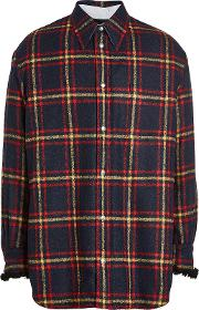 Alpaca Plaid Shirt With Shearling Cuffs