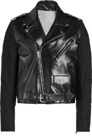 Perfecto Leather Biker Jacket With Fabric Sleeves