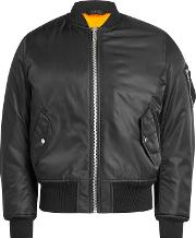 Satin Bomber Jacket With Shearling Lining