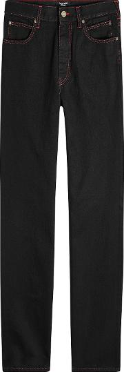 Straight Jeans With Contrast Stitching