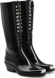 Western Faye Leather Knee Boots