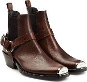 Western Harness Leather Ankle Boots