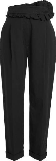 Cotton Pants With Ruffled Waist