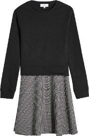 Dress With Cotton Sweatshirt And Printed Skirt