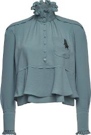 High Neck Blouse With Embellishment