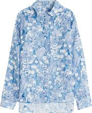 Printed Asymmetric Blouse With Sheer Inserts