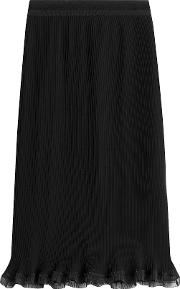 Ribbed Pencil Skirt With Ruffle