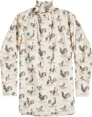 Rooster Print Cotton Blouse