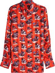 Rooster Print Silk Blouse