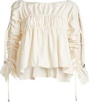 Ruched Blouse With Drawstring Detail