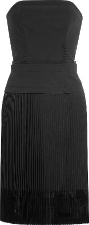 Strapless Dress With Pleated Skirt