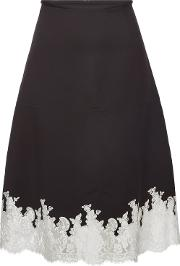 Celine Wool Silk Midi Skirt With Lace