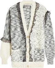 Patchwork Cardigan With Mohair, Wool And Lace