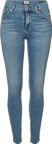 Rocket High Rise Skinny Jeans With Distressed Detail