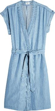 Chambray Dress With Belt Tie
