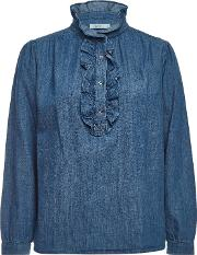 Denim Blouse With Cotton And Linen