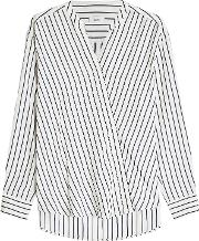 Striped Wrap Blouse With Silk
