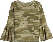 The Ruffle Sleeve Camouflage Top