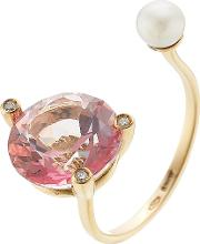 18kt Gold Ring With Pink Topaz, White Diamonds And Pearl