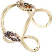 18kt Gold Ring With Rubies, Diamonds And Sapphire