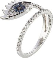 18kt White Gold Ring With Diamonds And Sapphires
