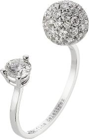 18kt White Gold Sphere Ring With White Diamonds