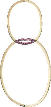 18kt Yellow Gold Lips Earring With Rubies