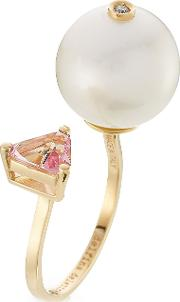 18kt Yellow Gold Trillion Ring With Diamond, Pearl And Topaz