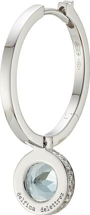 Seal 18kt White Gold Hoop Earring With Aquamarine And White Diamonds