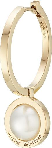 Seal 18kt Yellow Gold Hoop Earring With Pearl
