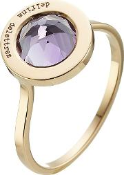 Seal 18kt Yellow Gold Ring With Amethyst