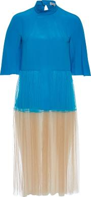 Silk Dress With Tulle Skirt