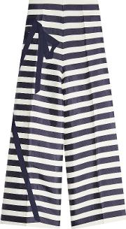 Striped Flared Cropped Trousers