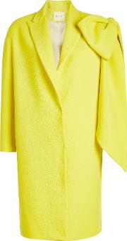 Virgin Wool Coat With Oversized Bow