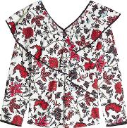 Printed Ruffle Blouse With Cotton