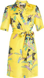 Printed Wrap Dress In Cotton And Silk