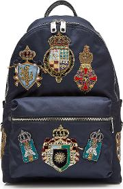 Fabric Backpack With Crest Patches