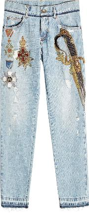 Skinny Jeans With Embellishment And Embroidery