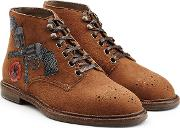 Suede Boots With Leather Appliques