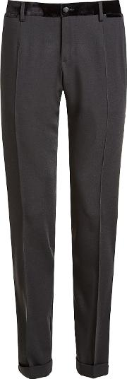 Wool Pants With Velvet Waistband