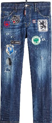 Distressed Jeans With Patches