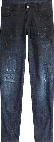 Distressed Tapered Jeans